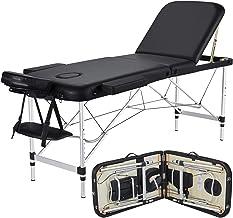 Yaheetech Massage Table Portable Massage Bed 3 Folding 84 Inch Aluminium Frame Lightweight Height Adjustable Salon Spa Table - Black