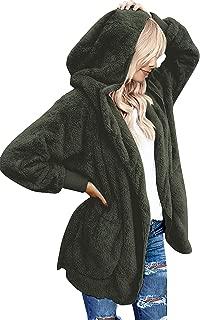 Yanekop Womens Winter Open Front Loose Hooded Fleece Sherpa Jacket Cardigan Coat
