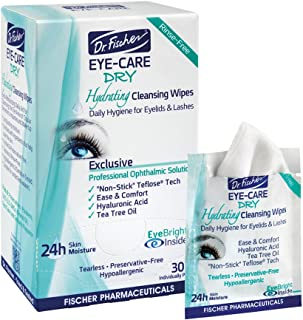 Dr. Fischer Daily hygienic & hydrating eyelid wipes- Complementary aid for dry eye syndrome & cleanse the eye area of ocular secretions. Moisture enriched to effectively clean & moisturize (30 Wipes)