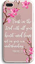 iPhone 7 Plus Case,iPhone 8 Plus Case,Peach Blossoms Floral Flower Bible Verse Christian Proverbs 3:5 Clear Soft TPU Bumper Anti Scratch Shockproof Protective Case Cover for Apple iPhone 7/8 Plus