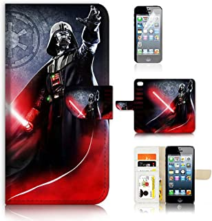 ( For iPhone 5 5S / iPhone SE ) Flip Wallet Case Cover & Screen Protector Bundle - A21334 Starwars Darth Vader