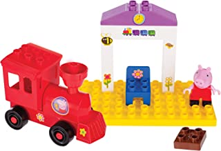 Zoofy International Peppa Pig Toy Train Building Construction Set with 16 Pieces, Including Peppa Pig Figurine and Stickers for Children Age 2 and Up