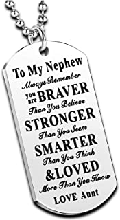 to My Niece Nephew Inspirational Gift Jewelry Dog Tag Pendant Necklace from Aunt Uncle Nephew Necklace Niece Necklace