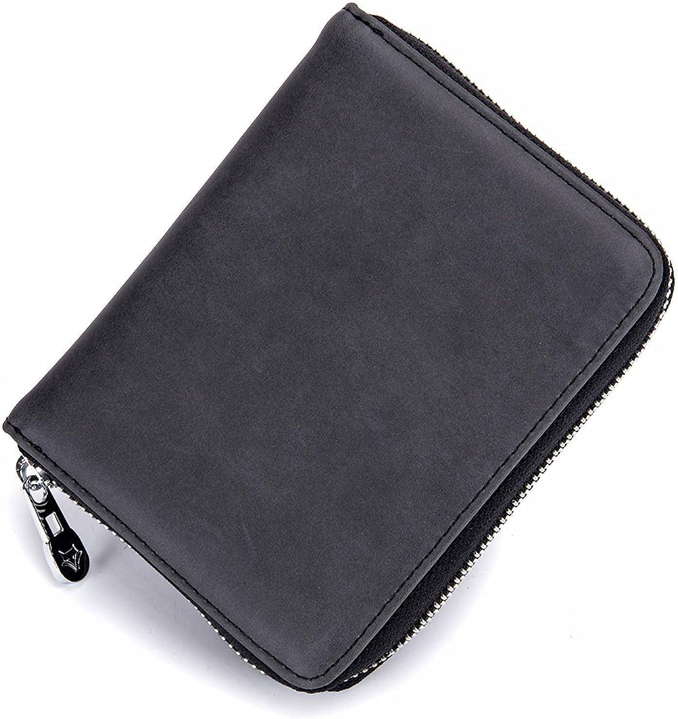 Tesucotus Credit Card Holder Wallet Leather RFID Blocking Wallet for Women Men (Black)