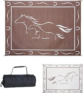 Stylish Camping GH8117 Brown/White 8-Feet x 11-Feet Galloping Horses Mat