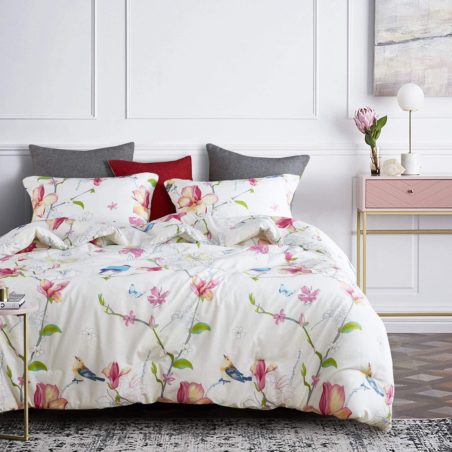3pcs, King Size Botanical Flowers Pattern Printed Floral Comforter Set Wake In Cloud 100/% Cotton Fabric with Soft Microfiber Inner Fill Bedding