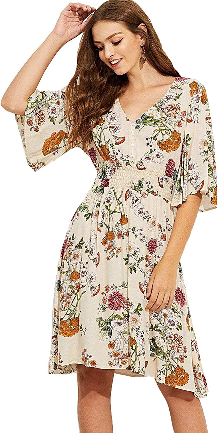 Milumia Women's Boho Button Up Split Max 49% OFF Dr Flowy Louisville-Jefferson County Mall Party Print Floral