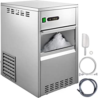 VBENLEM 55LBS 24H Snowflake Ice Maker Commercial Ice Machine Countertop Stainless Steel Ice Maker Machine Freestand Crusher Suit for Seafood Restaurant Bar Coffee Shop Home Use