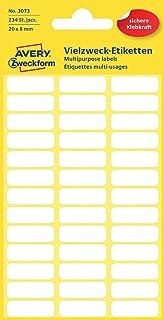 Avery Zweckform 3073 Haushaltsetiketten selbstklebend 20 x 8 mm, 234 Aufkleber auf 6 Bogen, Vielzweck-Etiketten für Haushalt, Schule und Büro zum Beschriften und Kennzeichnen blanko, weiß