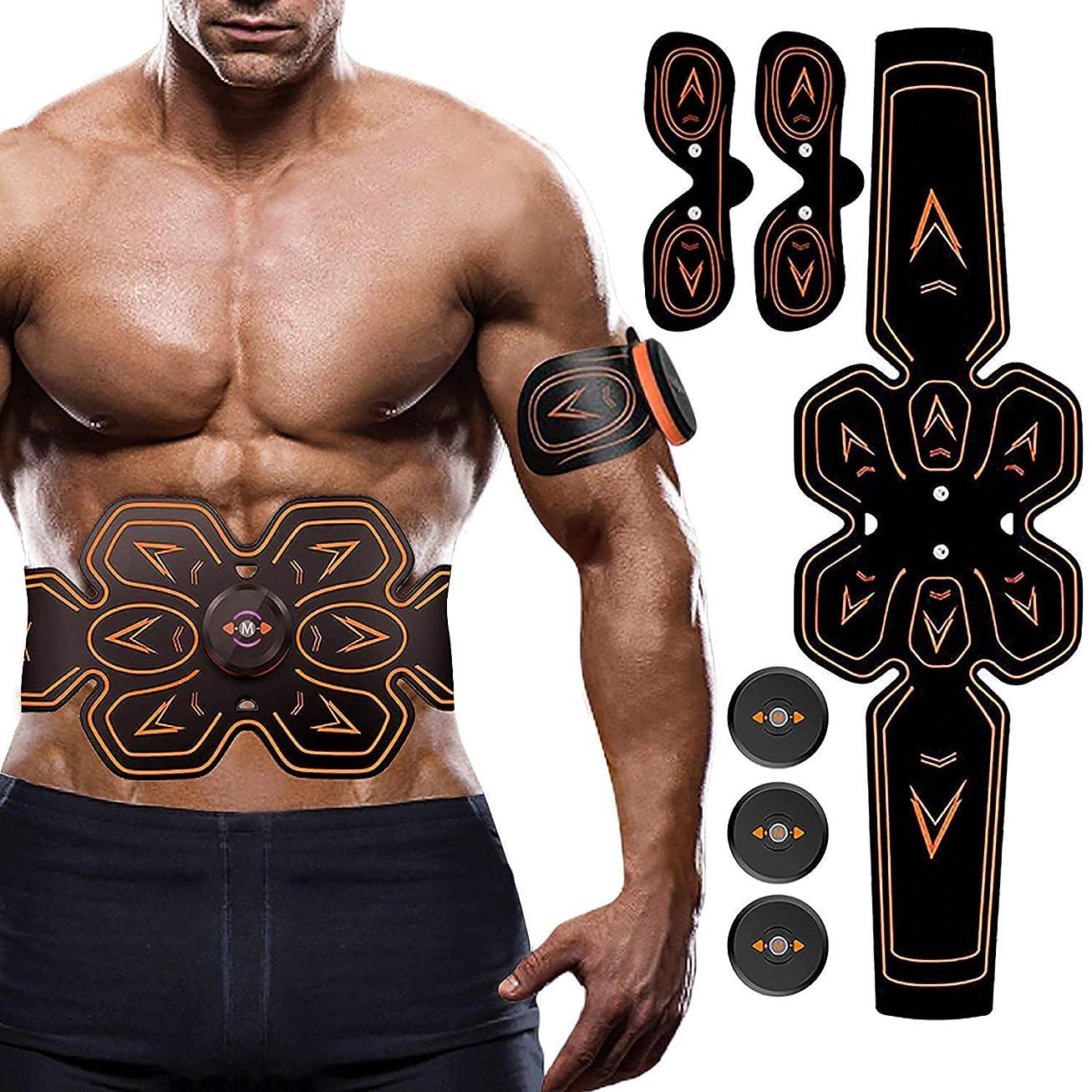 美しいもっと少なくアラビア語電気腹部筋肉刺激装置、ABSウエストトレーナーフィットネス減量体重減少マッサージャー用男性と女性の脂肪燃焼