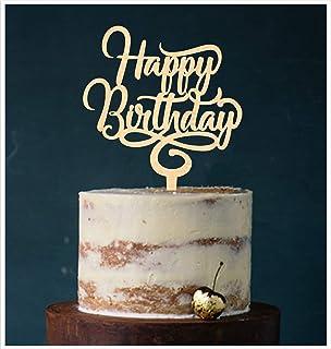 Manschin-Laserdesign Cake Topper, Happy Birthday Geburtstagstopper Tortentopper, Tortenstecker Geburtstag, Tortefigur Acryl, Farbwahl Holz Art.Nr. 5082