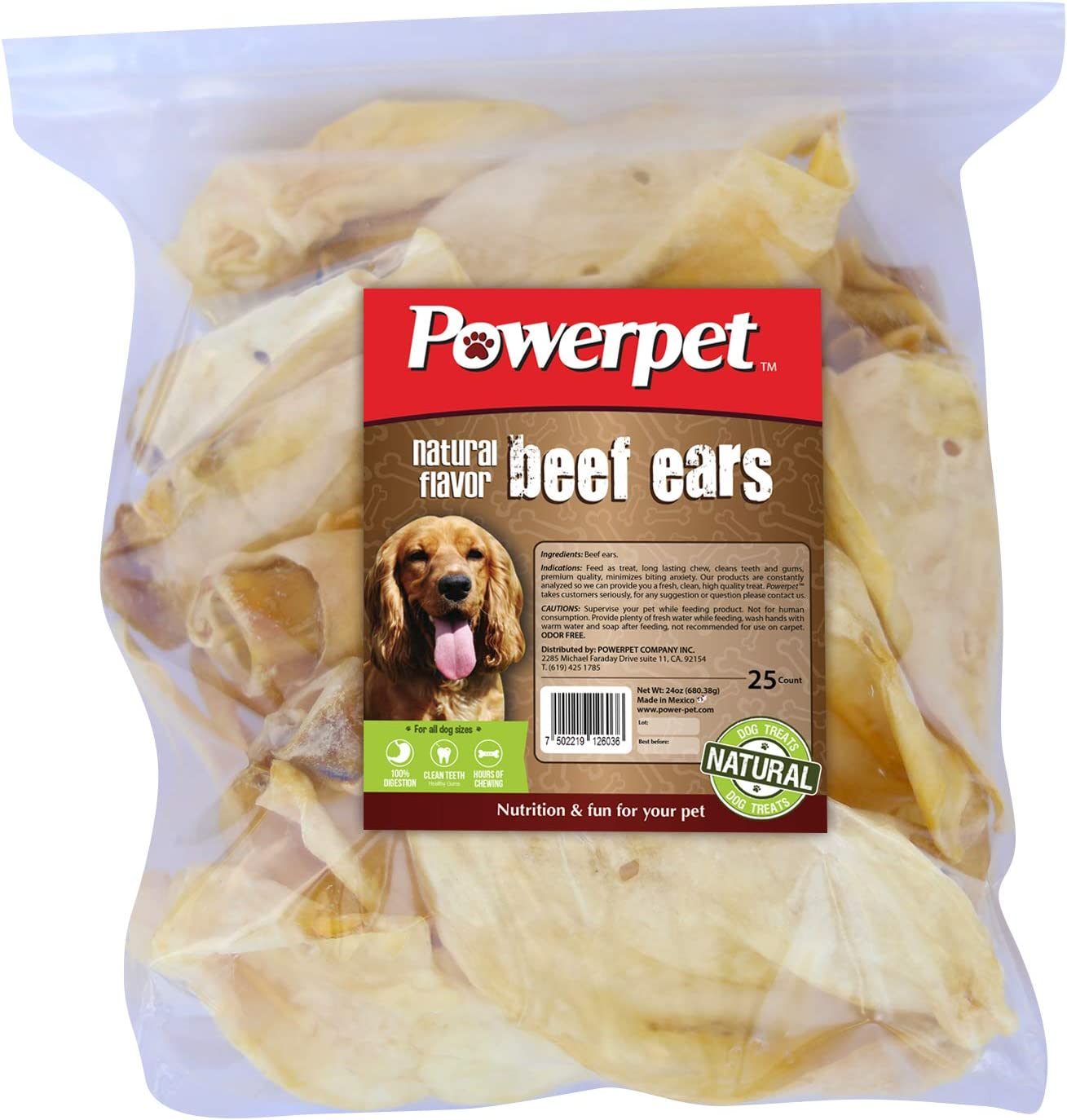 Powerpet 100% Natural Limited Super-cheap time trial price Cow Ears 25 Count for Dogs