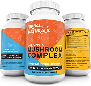 Organic Mushroom Supplements (100ct) Immunity 5 Mushrooms Wellness Formula - Reishi, Shiitake, Turkey Tail, Maitake & Chaga Mushroom Extract 1000mg/cap Mushroom Immune Defense & Energy Pills