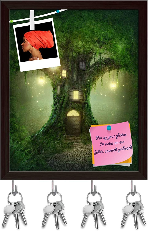 Artzfolio Fantasy Tree House in Forest D3 Key Holder Hooks   Notice Pin Board   Dark Brown Frame 16 X 19.8Inch