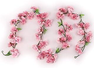 Larksilk Cherry Blossom Flower Garland, Dark Pink & Green Hues, Three 4.5Ft Garlands, 114 Total Silk Cherry Blossom Flowers, Increase Garland Length by Tying Together