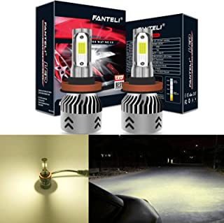 FANTELI H11 (H8, H9) 4300K-5000K Warm White LED Headlight Bulbs All-in-One Conversion Kit - 72W 8000LM High Beam/Low Beam/Fog Lights Extremely Bright