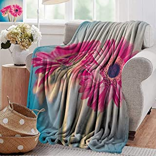 Wearable Blanket,Floral,Vintage Gerbera Flower Petals in Hazy Picture Romantic Summer Theme Print,Light Blue Hot Pink,300GSM, Super Soft and Warm, Durable 60
