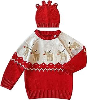 287c9a48e04bf De feuilles Chic-Chic Pull Garçon Fille Père Noël Bonnet Pull-Over Tricot  Sweater
