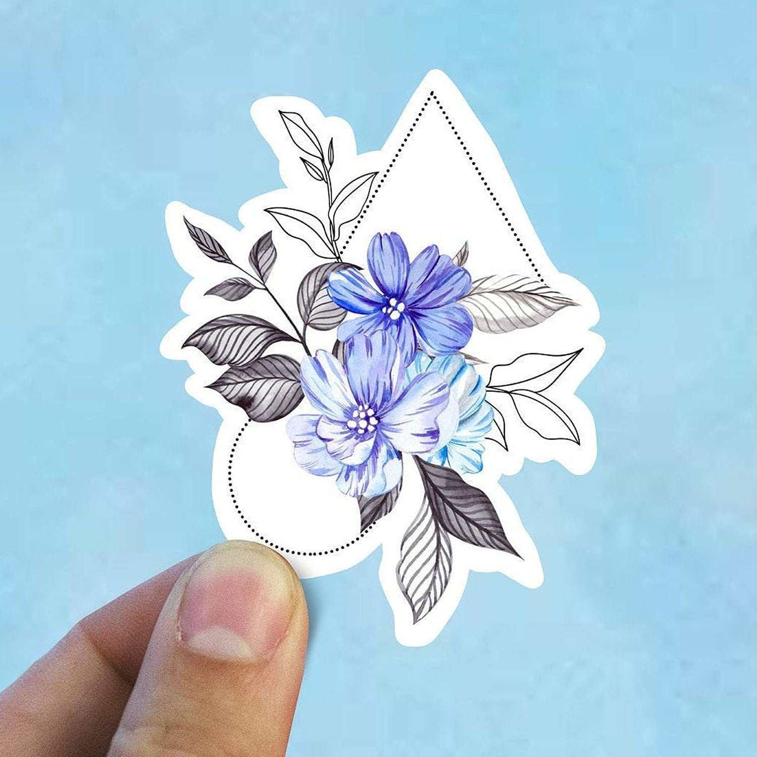 Blue Geometric Flowers Vinyl Superior Stickers Bottle Laptop Decal New life Water