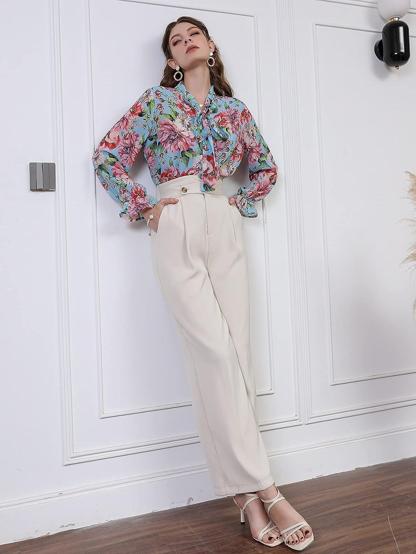 Milumia Women's Bow Tie Ruffle Collar Button Down Long Sleeve Chiffon Vintage Floral Blouse