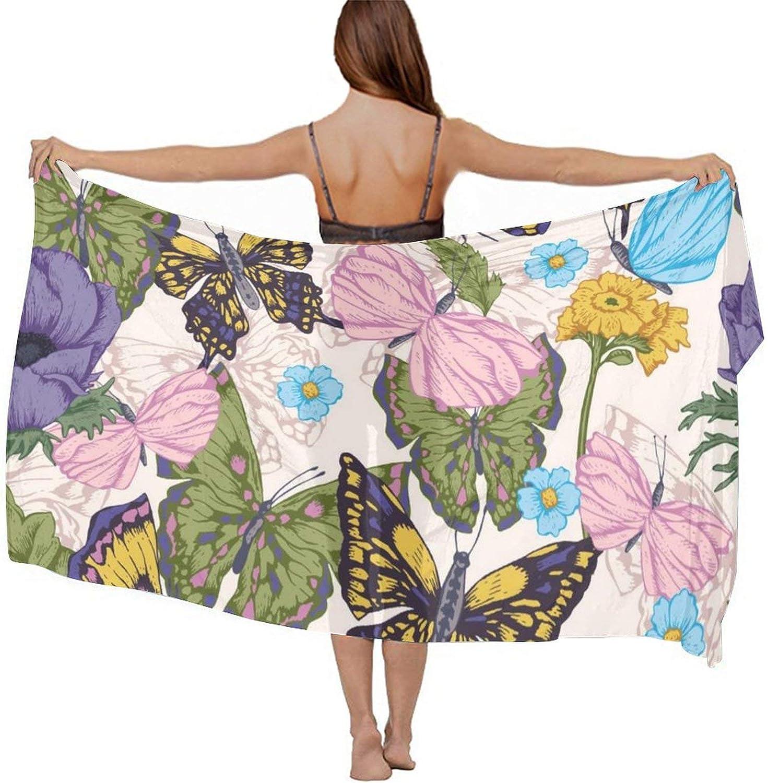 SWEET TANG Women Short Sarongs Bikini Wraps Chiffon Cover Ups Beach Soft Wraps for Cruises, Pool, Lake, Butterflies