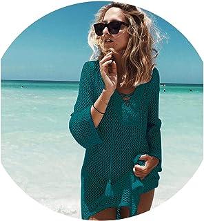 Jfoier women cover-ups Bikini de Punto con diseño de Playa y Ganchillo