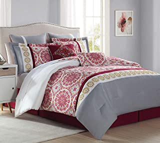 KingLinen 8 Piece Alanis Burgundy/Gray Comforter Set Queen