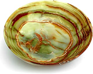 Natures Artifacts Beautifully handcrafted Multi Green Onyx Serving Bowl - 100% Natural Stone - 8