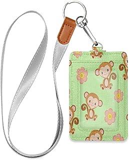 HMZXZ Porte-badge d'identification vertical en cuir synthétique avec cordon détachable Motif singe et fleurs Pour femme ho...