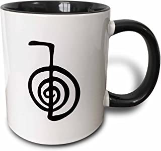 3dRose Reiki power symbol cho ku rei choku rei for protection cleaning clearing energy or boosting healing - Two Tone Black Mug, 11oz (mug_154526_4), 11 oz, Black/White