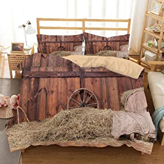 KUDOUXIA Rural Old Horse Stable Barn Interior Hay and Wood Planks Image College Dorm Room Decor Decorative Custom Design 3 PC Duvet Cover Set Twin/Twin Extra Long