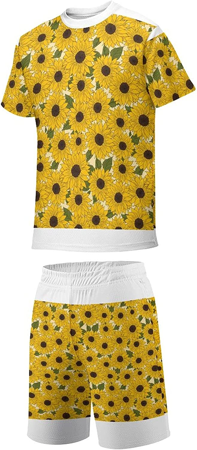 Vanalyn Sunflower Youth Quick-Drying Breathable Round Neck Short-Sleeved Shorts Full-Print T-Shirt Set
