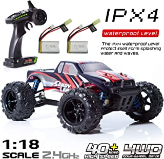 EXERCISE N PLAY RC Car, Remote Control Car, Terrain RC Cars, Electric Remote Control Off Road Monster Truck, 1:18 Scale 2.4Ghz Radio 4WD Fast 30+ MPH RC Car, with 2 Rechargeable Batteries