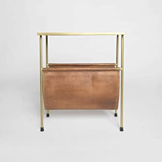 Best Home Fashion Brass Finish Side Table with Leather Magazine Holder