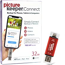 Picture Keeper Connect 32GB Portable Flash USB Backup and Storage Device Drive for Mobile Phones Tablets and Computers (Red)