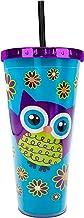 Spoontiques Purple Owl Foil Cup w/Straw, 20 oz, Blue