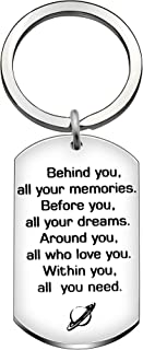 Keyrings Best Friend Graduation Gifts Key Holder Behind you,all your memories.Before you,all your dreams.Around you,all who love you.Within you,all you need