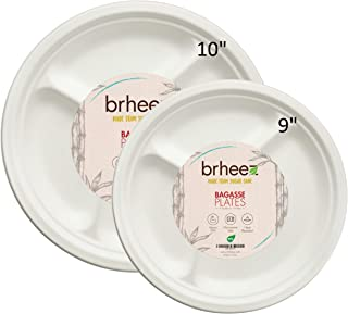 Brheez 10 inch Heavy Duty 3 Compartment Plates 100% Natural Sugarcane Biodegradable Compostable Bagasse, Eco-friendly paper alternative - Pack of 110