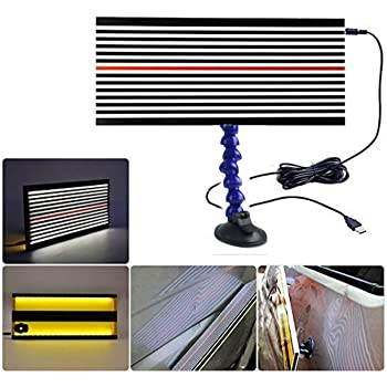 Power Button with 3 Different Brightness Controls Professional Car LED Stripe Line Board Light with Power Button,Paintless Dent Removal Repair Tool Yellow Light with Adjustment Holder and USB Line