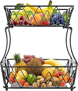 ceuao Panier à Fruits en Métal, Paniers à Légumes à 2 Niveaux , Corbeille a fruit , Panier de Stockage pour Les Fruits, Le...