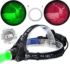 BIZOOM KH55 Night Hunting Headlight Zoomable Green red 2 in 1 CREE XPE2 LED Rechargeable Headlamp Best for Astronomy Aviation Night Observation Fishing with USB Charging Cable (No Included Battery)