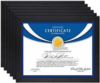 Icona Bay 8.5x11 Diploma Frame (6 Pack, Black), Black Sturdy Wood Composite Certificate Frame, Document Frame Bulk, Wall or Table Mount, Set of 6 Exclusives Collection