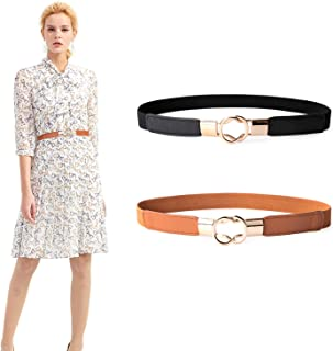 JASGOOD 2 Pack Women Retro Elastic Stretchy Metal Buckle Skinny Waist Belt 1Inch Wide
