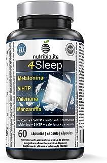 4Sleep - Melatonina Pura + 5-HTP Griffonia Simplicifolia + Manzanilla + Valeriana - Efecto prolongado. Rápida conciliación y mejora