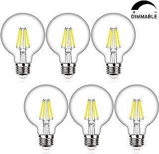 70W Equivalent G25 Dimmable LED Globe Light Bulbs, 7Watt, Medium Screw Base (E26), 4000K Kelvin Daylight White, 800Lm, Bathroom Vanity Mirror Light, 6-Pack