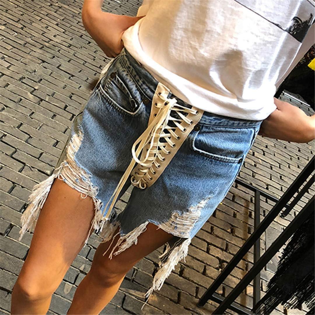 DFLYHLH High Waist Bandage Denim Short for Women Patchwork Tassel Sexy Casual Women's Shorts