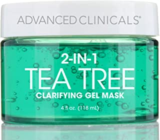 Advanced Clinicals Tea Tree Oil Mask. 2-in-1 overnight sleep mask w/Tea Tree Oil, Witch Hazel & Grapefruit Extract for dry...