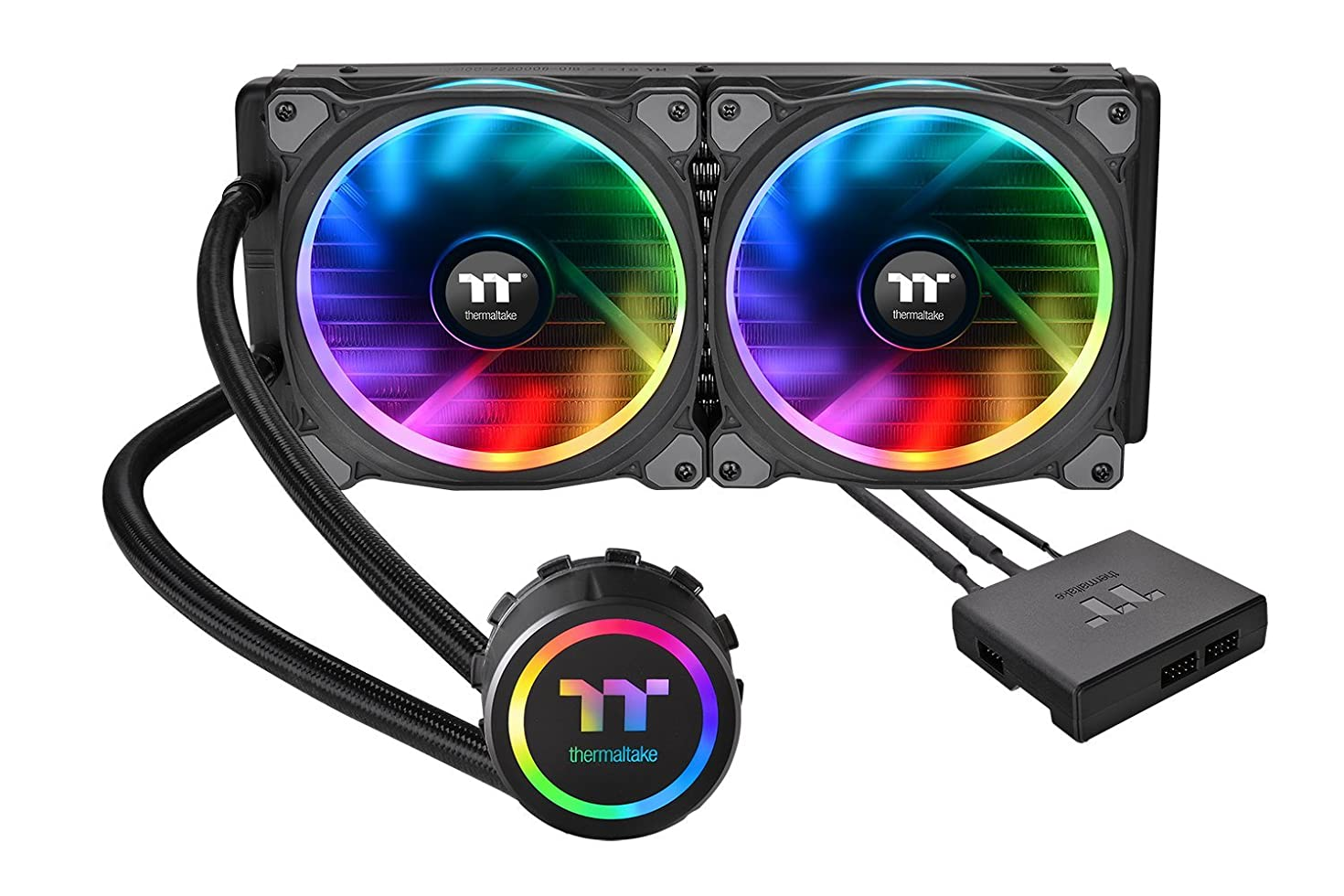 Thermaltake Floe Dual Riing RGB 280 TT Premium Edition PWM TR4 AM4 LGA2066 Ready AIO Liquid Cooling System 280mm High Efficiency Radiator CPU Cooler CL-W167-PL14SW-A
