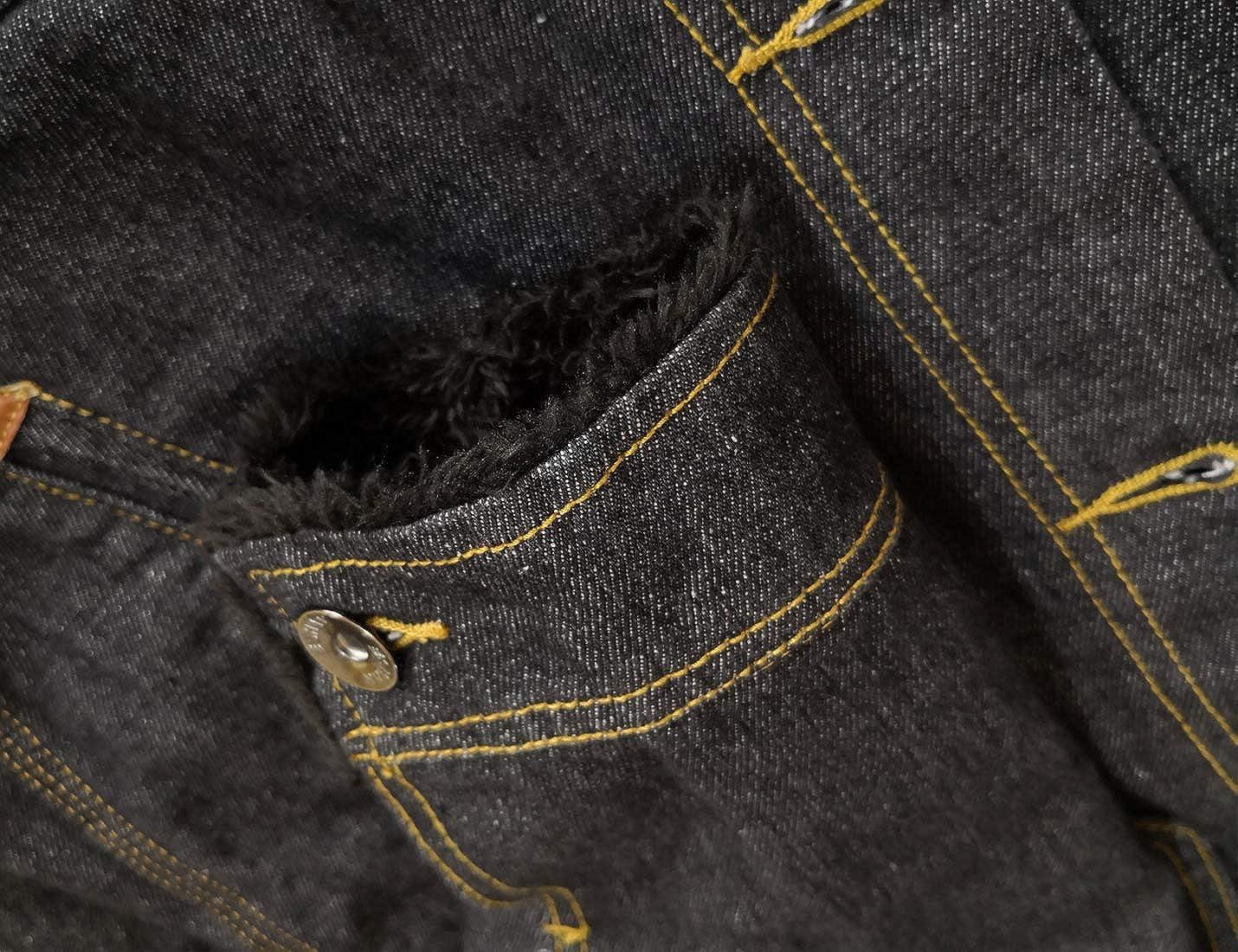 PUWEI Mens Distressed Fleece Lined Fuzzy Faux Fur Collar Denim Trucker Jacket