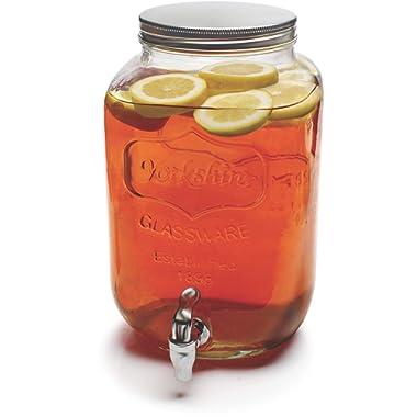 Circleware Sun Tea Mini Mason Jar Glass Beverage Dispenser with Metal Lid Glassware For Water, Juice, Beer, Wine, Liquor, Kombucha Iced Punch & Best Cold Drinks, Classic, Yorkshire 1 Gallon